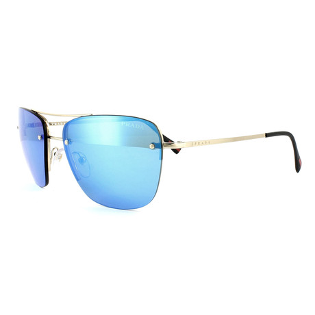 Prada // Men's Navigator Sunglasses // Matte Gold + Blue Mirror