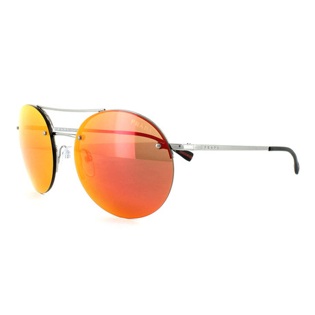 Prada // Men's Round Aviator Sunglasses // Gunmetal + Orange Mirror