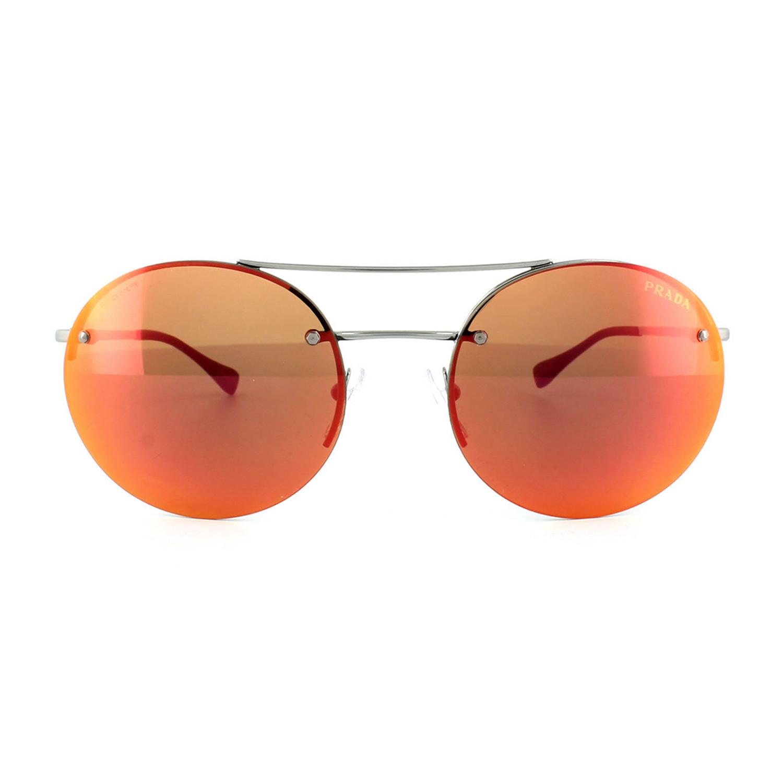 e1b8136369 Prada    Men s Round Aviator Sunglasses    Gunmetal + Orange Mirror ...