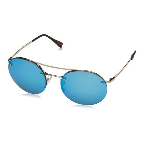 Prada // Men's Round Aviator Sunglasses // Matte Gold + Blue Mirror