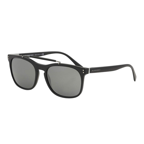 Burberry // Men's Aviators // Matte Black + Gray Silver Mirror