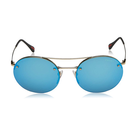 Prada // Men's Round Aviator Sunglasses // Matte Gold + Blue Mirror