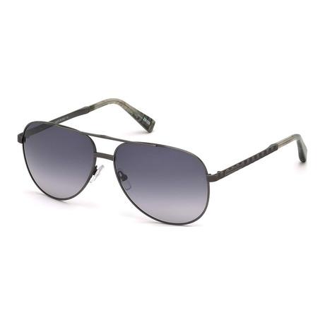 Zegna // Men's Metal Aviator Sunglasses // Gunmetal + Gray Gradient