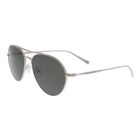 Zegna // Men's Titanium Polarized Aviator Sunglasses // Shiny Light Ruthenium + Polarized Gray