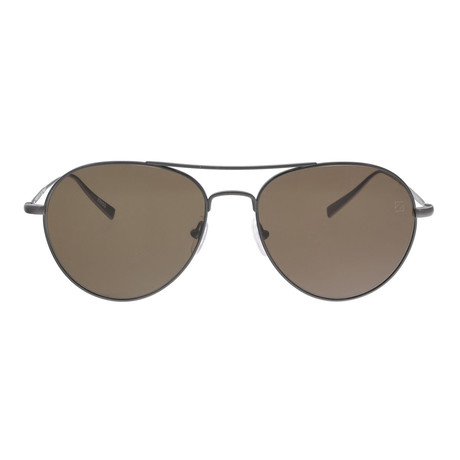 Zegna // Men's Titanium Aviator Sunglasses // Gray + Brown
