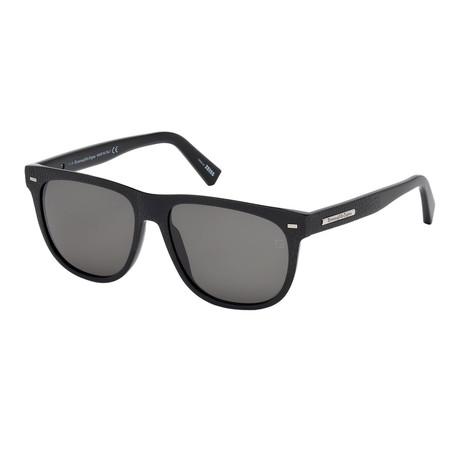 Zegna // Men's Wayfarer Sunglasses // Shiny Black + Gray