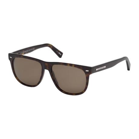 Zegna // Men's Wayfarer Sunglasses // Tortoise + Brown