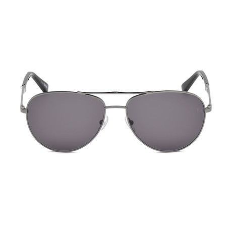 Zegna // Men's Aviator Sunglasses // Shiny Dark Ruthenium + Gray
