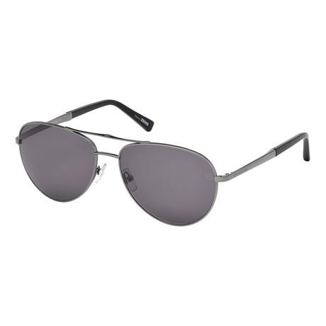 Zegna // Men's Aviator Sunglasses // Shiny Dark Ruthenium + Gray