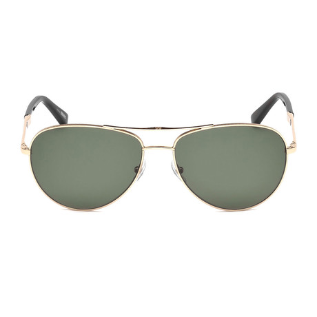 Zegna // Polarized Aviator Sunglasses // Shiny Rose Gold + Green Polarized
