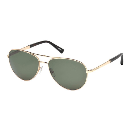 Zegna // Men's Polarized Aviator Sunglasses // Shiny Rose Gold + Green Polarized