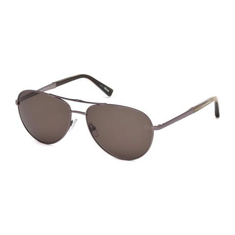 Zegna // Men's Aviator Sunglasses // Shiny Light Bronze + Brown