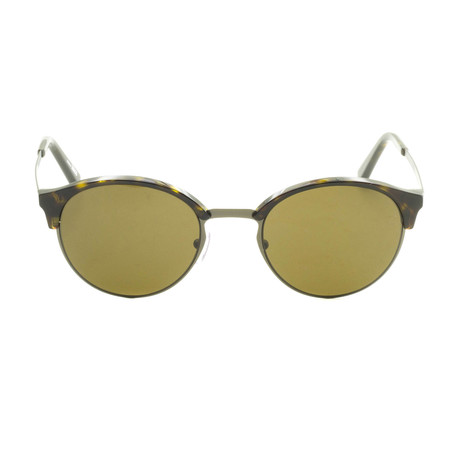 Zegna // Men's Round Classic Sunglasses // Tortoise + Brown