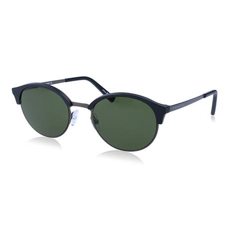 Zegna Men's Round Clubmaster Sunglasses // Black + Green