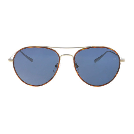 Ermenegildo Zegna // Classic Aviator Sunglasses // Havana + Silver + Gray