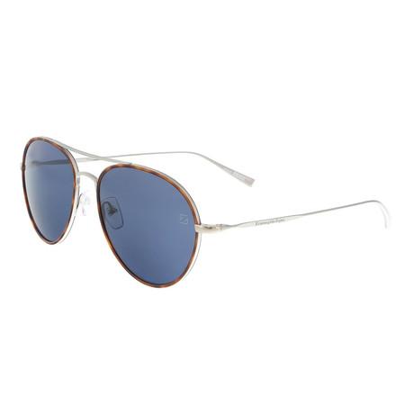 Zegna // Men's Classic Aviator Sunglasses // Havana + Silver + Gray
