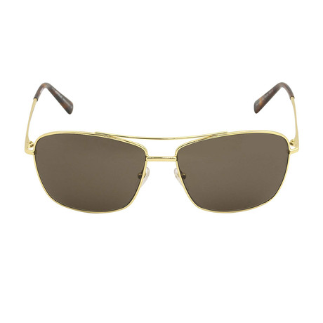 Mont Blanc // Men's Classic Navigator Sunglasses // Shiny Endura Gold + Brown