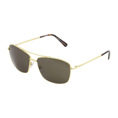 Montblanc Men's Classic Navigator Sunglasses // Shiny Endura Gold + Brown