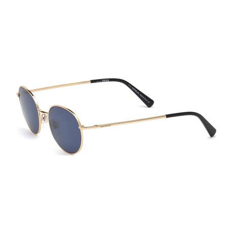 Mont Blanc // Men's Classic Round Metal Sunglasses // Shiny Rose Gold + Blue Gray