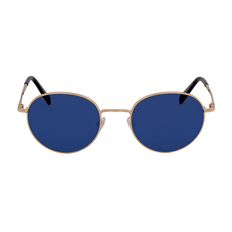 Mont Blanc // Men's Classic Round Metal Sunglasses // Shiny Rose Gold + Blue Gray