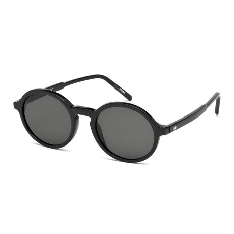 Mont Blanc // Men's Classic Round Acetate Sunglasses // Shiny Black + Gray
