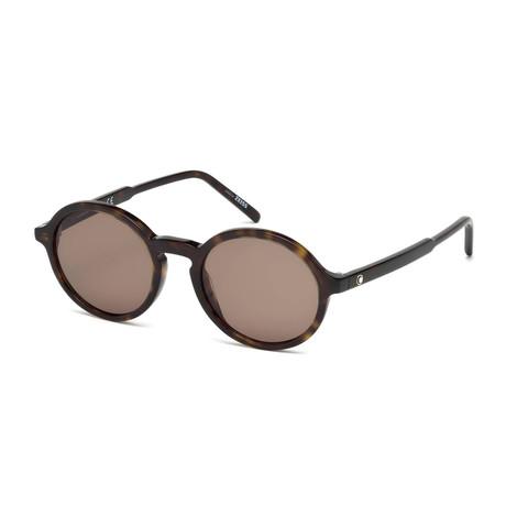 Mont Blanc // Men's Classic Round Acetate Sunglasses // Dark Havana + Brown