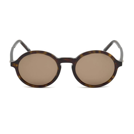 Mont Blanc // Men's Classic Round Acetate Sunglasses // Dark Havana + Brown