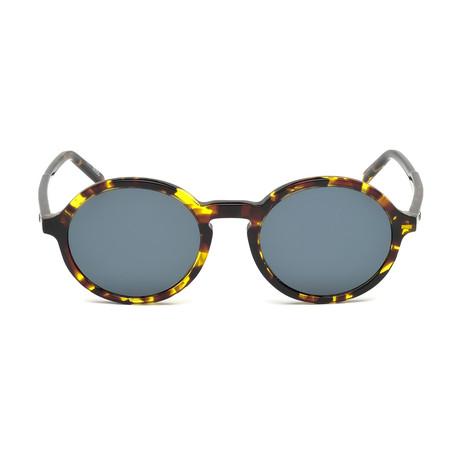 Mont Blanc // Men's Classic Round Acetate Sunglasses // Colored Havana + Gray