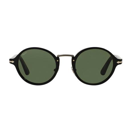 Persol Men's Classic Typewritter Sunglasses // Black + Green