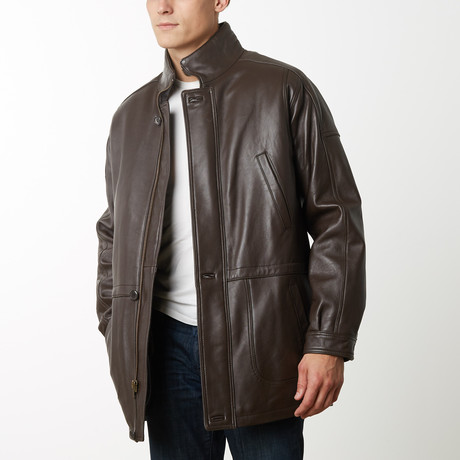 Mason + Cooper Garner Leather Parka // Brown (S)