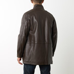 Mason + Cooper Garner Leather Parka // Brown (S)