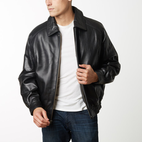 Mason + Cooper Easton Leather Bomber // Black (S)