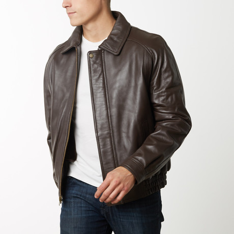 Mason + Cooper Easton Leather Bomber // Brown (S)