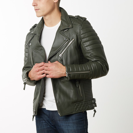 Mason + Cooper Boda Moto Leather Jacket // Green (S)