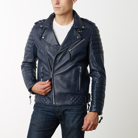 Mason + Cooper Boda Moto Leather Jacket // Navy (S)