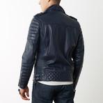 Mason + Cooper Boda Moto Leather Jacket // Navy (S)