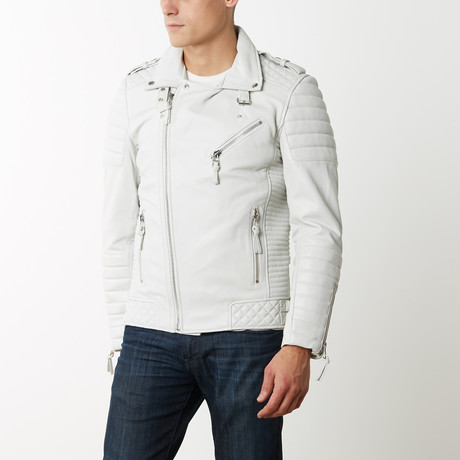 Mason + Cooper Boda Moto Leather Jacket // White (S)