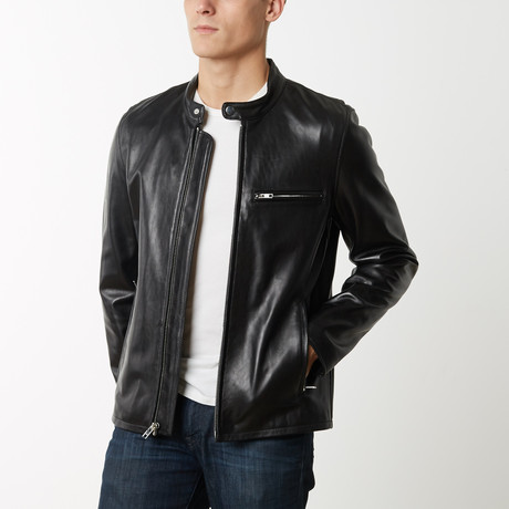 Mason + Cooper Slim Fit Café Racer Leather Jacket // Black (S)