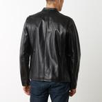 Mason + Cooper Slim Fit Café Racer Leather Jacket // Black (S)