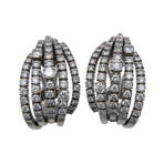 Damiani Night of San Lorenzo 18k White Gold Diamond Huggie Earrings