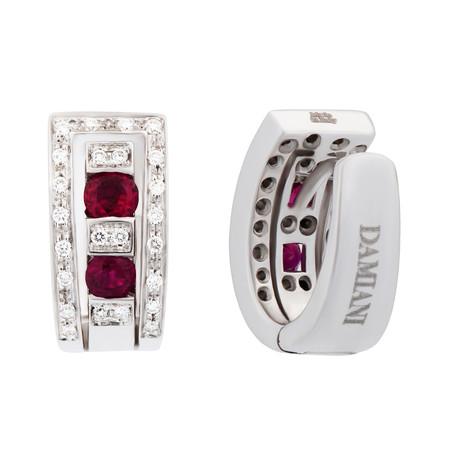 Damiani Belle Epoque 18k White Gold Diamond + Ruby Huggie Earrings