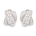 Damiani Gomitolo 18k White Gold Diamond Huggie Earrings