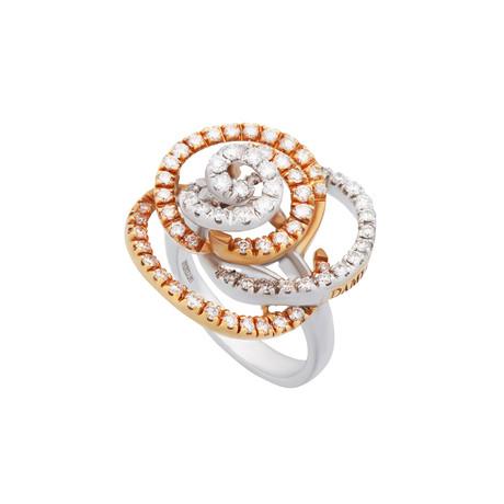 Damiani 18k White Gold + 18k Rose Gold Diamond Ring // Ring Size: 7.5