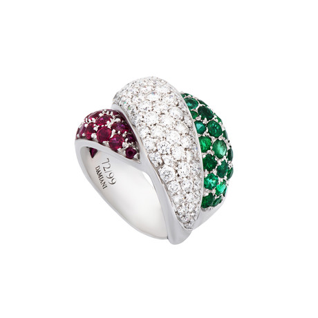 Damiani Gomitolo 18k White Gold Diamond + Emerald + Ruby Ring // Ring Size: 7.5