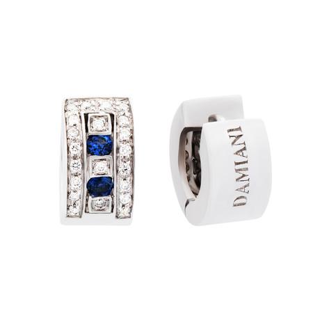Damiani // Belle Epoque 18k White Gold Diamond + Blue Sapphire Earrings
