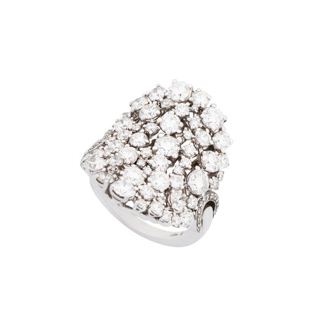 Damiani 18k White Gold Diamond Cluster Ring // Ring Size: 7.5