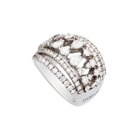 Damiani Queen Cleopatra 18k White Gold Diamond Ring // Ring Size: 7