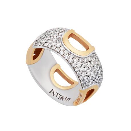 Damiani D. Icon 18k White Gold + 18k Rose Gold Diamond Pave Ring // Ring Size: 7.5