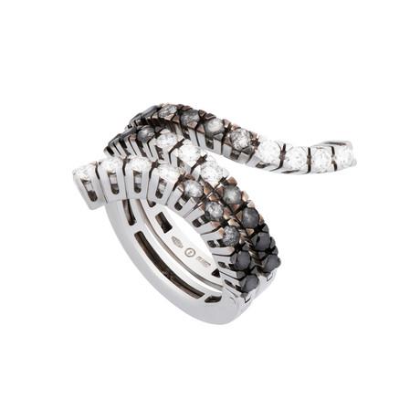 Damiani // Eden 18k White Gold Black + White Diamond Ring // Size 8.5