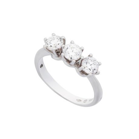 Damiani Luce 18k White Gold 3 Diamond Ring // Ring Size: 6.5
